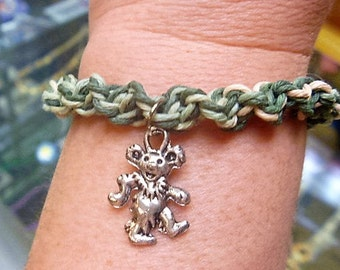 Grateful Dead Dancing Bear Earthtone Hemp Bracelet Anklet   handmade macrame jewelry  hippie  Deadhead