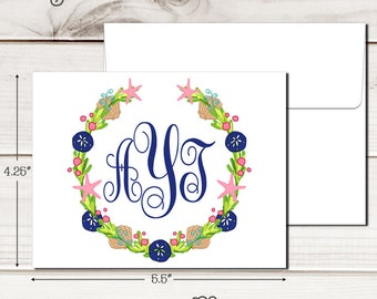 Personalized SEALIFE FRAME Note Cards - Set of 12 - Blank Inside with Envelopes