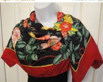 Ho Ho Holiday SALE Vintage Silk Assets Old Roses multicolor bright floral scarf, Made in Korea, 34 inch square, Rolled hemmed edges, Bonus m