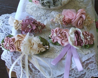 Set of 4 Victorian Barrettes for Wedding, Special Occaisions, Bridesmaids, Birthdays, Handmade Ribbon Roses and Fabric Flowers,French Clip