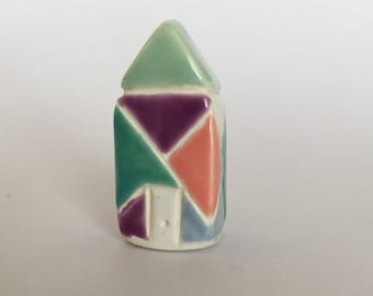 Crystal Prism Little House Collectible Ceramic Miniature Clay House