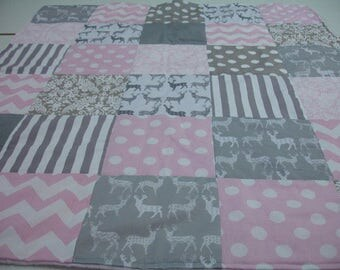 Meadow Deer Gray Mixed Geometrics Baby Pink and Gray 3 Piece Baby Crib Bedding Set MADE TO ORDER Free Shipping