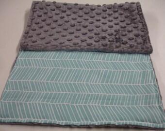 Aqua Herringbone Minky Burp Cloth 11 x 19 READY TO SHIP On Sale