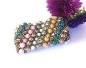 ON SALE Vintage Stretch Bracelet, Multi-Color Beads, Gold Chain Mesh, Wide Bracelet