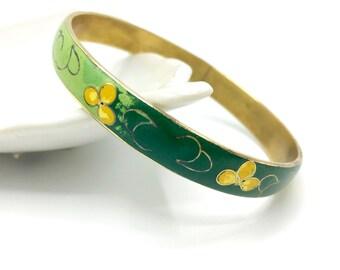 Vintage Enamel Bangle Bracelet, Green & Yellow with Gold