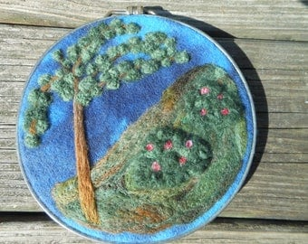 Needle Felted Picture Landscape Wall Hanging Mountain Tree Bushes