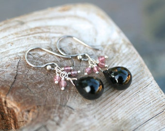 Black Spinel and Pink Tourmaline Gemstone Sterling Silver Wire Wrapped Earrings, Pink and Black Earrings, Black and Pink Gemstone Jewelry