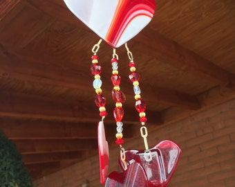 Heart Windchime Garden Suncatcher Stained Glass Porch Yard Art Window Decoration DC1