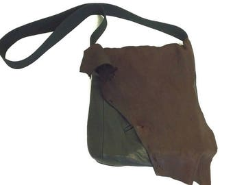 Raw Distressed Handmade Leather Crossbody  Bag