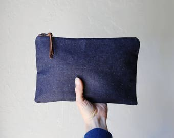 Dark Indigo Hemp Organic Cotton Denim Pouch