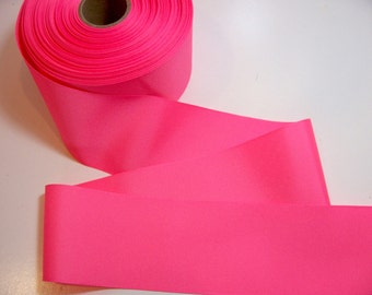 Wide Pink Ribbon, Light Neon Pink Grosgrain Ribbon 3 inches wide x 3 yards