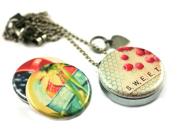 BERRY Sweet Locket Necklace • Summer Necklace • Fruit • Gardener Gift • Strawberry • Blueberry • Raspberry • 3 in 1 Magnetic Jewelry