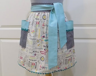 Womens Retro Half Apron Modern Chic Cute Kitchen Waist Aprons with Pockets Laugh Believe Word