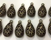 March Madness Sale Destash Jewelry Making Antique Bronze Hollow Teardrop Dozen Twelve 12 Findings Charms Pendants