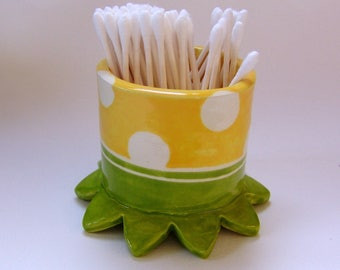 whimsical pottery Bathroom Cup, ceramic cotton swab holder :) sunny yellow & lime green, polka-dots home decor