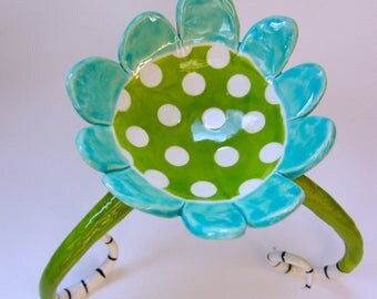 Alice in Wonderland Pottery Dish -- turquoise / lime with long curly black & white striped legs, polka dots, and whimsy