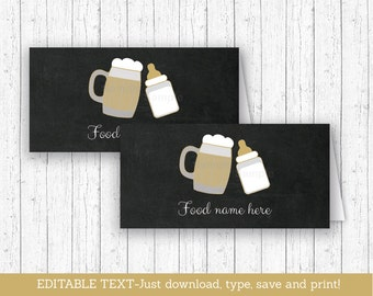 Baby Is Brewing Buffet Cards / Baby Is Brewing Shower / Beer Baby Shower / BBQ Baby Shower / BaByQ / Instant Download Editable PDF A116