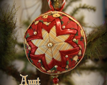 Handmade Quilted & Beaded Christmas Ball Ornament Red Yellow Gold