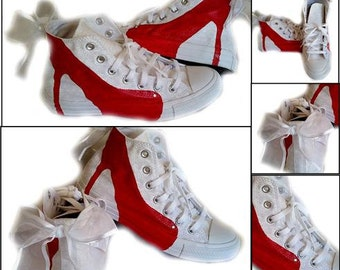 Converse High Top, Womens Shoe, Wedding, Prom, Home Coming, Red High Heels, Made to Order, Custom Order, SHOES INCLUDED