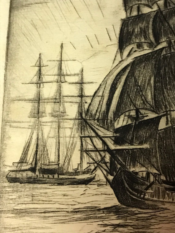 A. Graeme Mitchell (1889-1941) Etching of Large Masted Ships