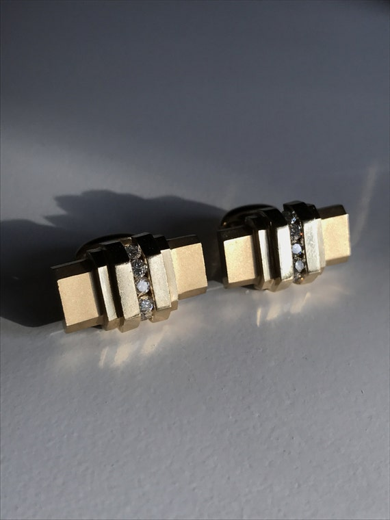 14K Gold Art Deco Cufflinks with Diamonds One Piece