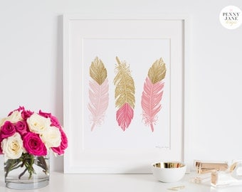 Pink and Gold Feathers Art Print, Love Arrows Wall Art, Love and Gold Arrows Wall Art, Pink and Gold Nursery Wall Art, Office Wall Art