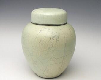 Contemporary ceramic Raku Ginger jar Minimalist Urn modern Raku Pottery light blue green 1a-1