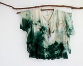 RESERVED . FOREST DWELLER . women's tie dye top . plus size 24 . up-cycled . emerald green boho gypsy hippy hippie festival us size 20