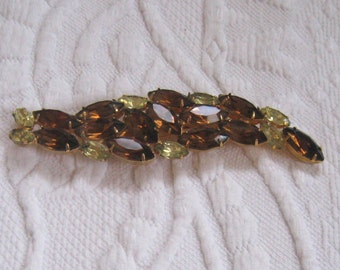 citrin and amber rhinestone brooch . brown and yellow rhinestone pin . long rhinestone pin . czech glass brooch . topaz rhinestone