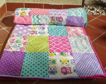 Baby quilt,crib quilt,girl quilt,baby girl bedding,modern,toddler,woodland,rustic,teal,purple,pink,handmade,owls,bright colors,Screech Owl