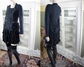 Vintage 80's new wave jacket, cropped black jacket, Gothic, goth, witch punk black jacket, military epaulets, ruffled jacket, Gary Numan,
