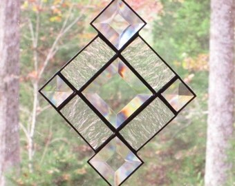 Stained Glass Suncatcher - Clear Bevels and Textured Clear Glass
