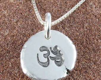 Om Pendant Organic Rustic Recycled Sterling Silver Om Jewelry