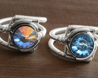 Two Cyberpunk rings - Aurora borealis swarovski crystal and aquamarine ring