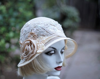 Summer Sinamay Hat 1920s Vintage Style for Weddings Tea Party Hat Ivory Wide Brim Hat