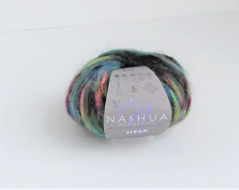 Sitar 566, Nashua yarn, sunshine spruce, multicolor, thick n thin, C, destash new