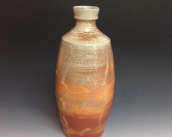 Bottle. Vase. Combed Decoration. Soda Fired Stoneware