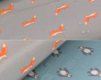 4503 - Retro Flower Rose Fox Penguin Waterproof Fabric - 57 Inch (Width) x 1/2 Yard (Length)