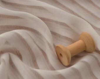 4512 - Offwhite Stripe Chiffon Fabric - 55 Inch (Width) x 1 Yard (Length)