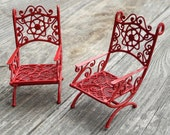 RESERVED Miniature Garden Chair Set, Pretty Red for Christmas Holiday Decorations, Mini Fairy Garden, Custom Painted, Set 2, One Inch Scale