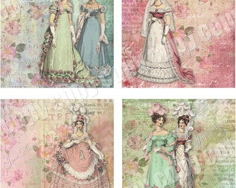Instant Download - Jane Austen Coaster Images  -  Collage Sheet - Printable Download - Gift Tags - Scrapbook