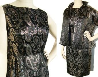 Vintage 60s Dress & Jacket Black Gold Brocade Cocktail Party 2-Piece Set M