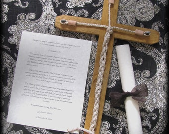 Cross Wedding Wooden Barnwood rustic barn wood God's knot ceramony of three knots of unity vows Church nuptual Anniversary gift Rope Leather