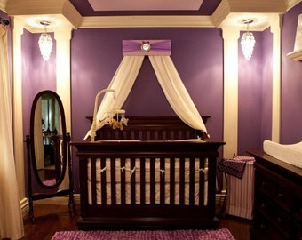 Crib Canopy Nursery Teester Princess Bed Lavender Purple Silver Personalized FREE Upholstered Girls Bedroom Decor custom So Zoey Boutique