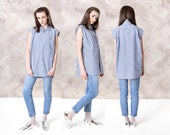 COTTON STRIPE SHIRT long tunic Blue White spring summer Oversize modern minimal tank top blouse women / Small Medium / better Stay together