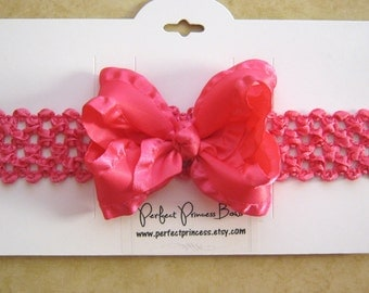 Soft Stretchy Headband with Hot Pink 3 inch Satin Double Ruffle Hair Bow for Newborn, Baby Girl -READY TO SHIP