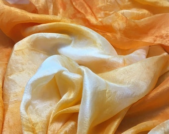 "Hand Dyed TANGERINE ORANGE China Silk HABOTAI Fabric - 18""x22"""
