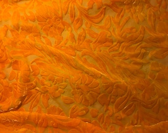 Tangerine Orange Floral - Hand Dyed Burnout Silk Velvet - 1 Yard