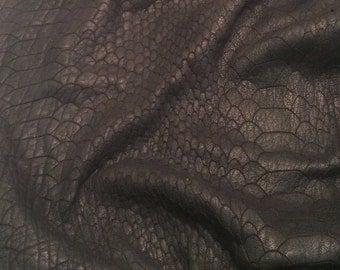 Black Embossed GATOR Lambskin Leather Hide Piece #1