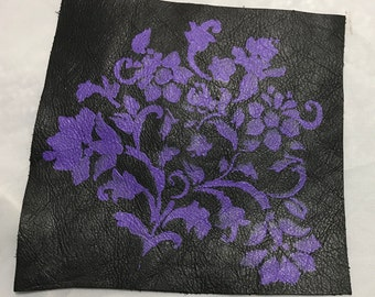 Hand PAINTED Black Cow Hide Leather Piece with Purple FLORAL